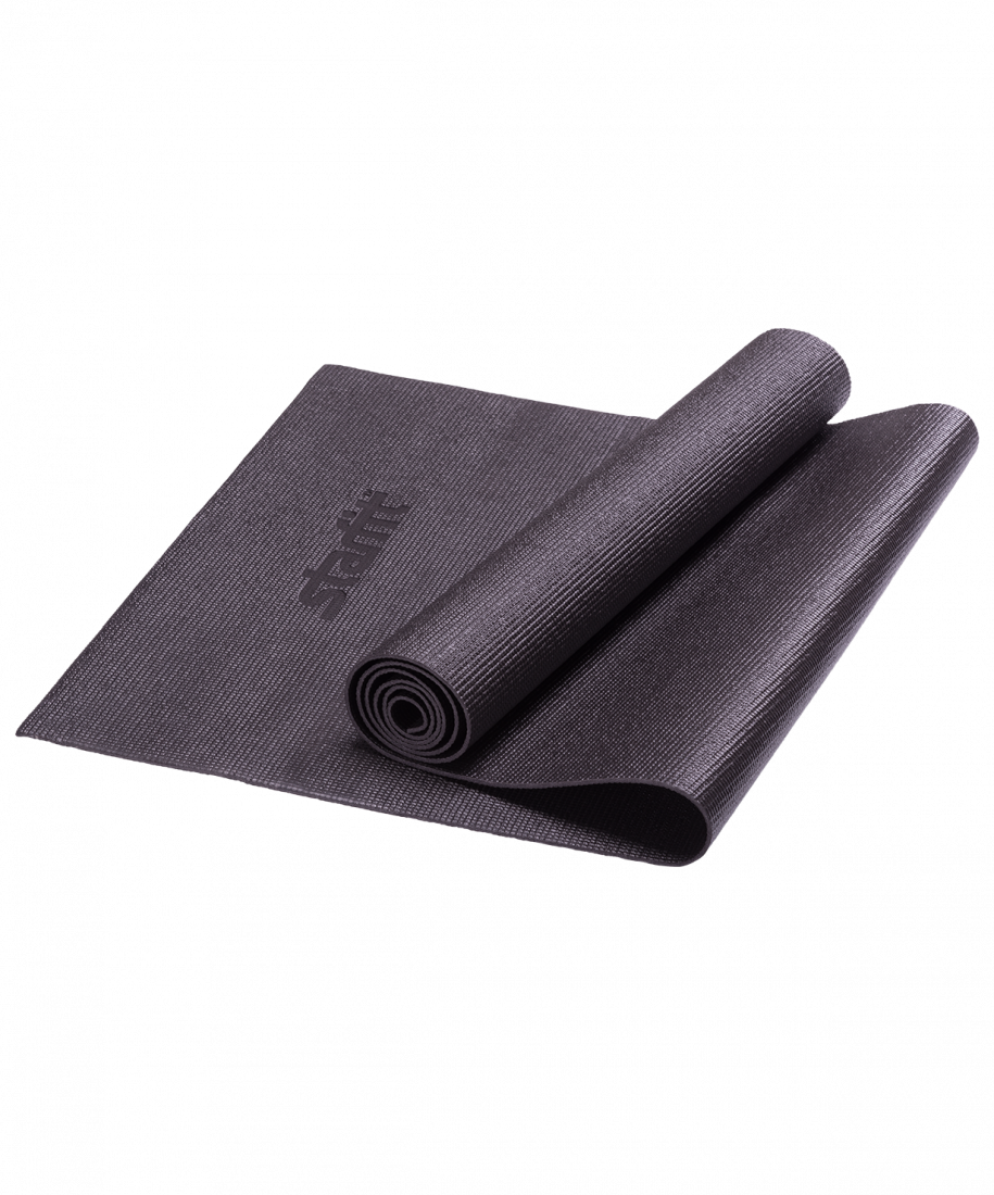 Коврик для йоги FM-101, PVC, 173x61x0,3 см, черный