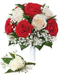 Букет невесты «Союз алой и белой розы»