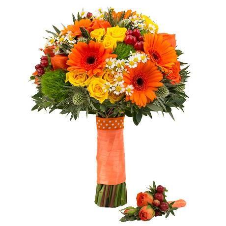 Букет невесты из роз, гербер и гиперикума «Современная свадьба»