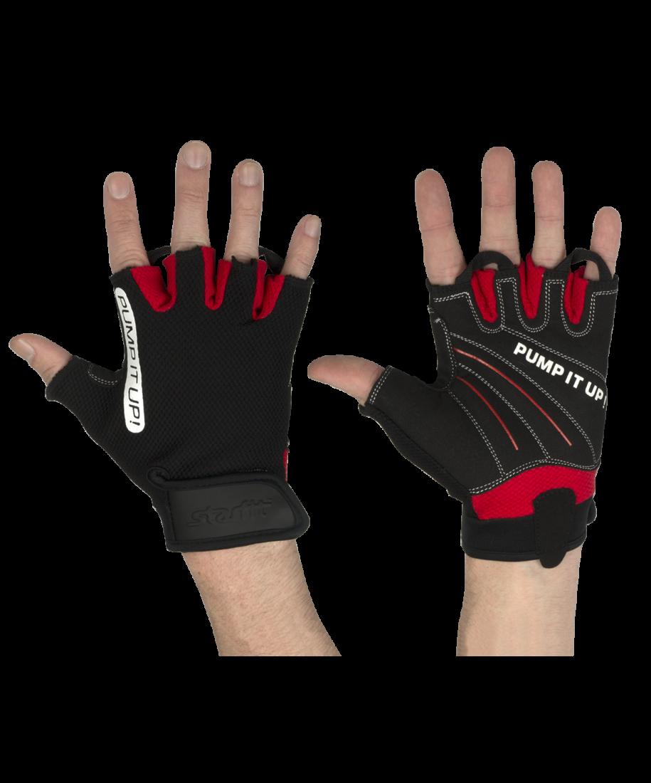 Перчатки для фитнеса SU-119, черные/красны