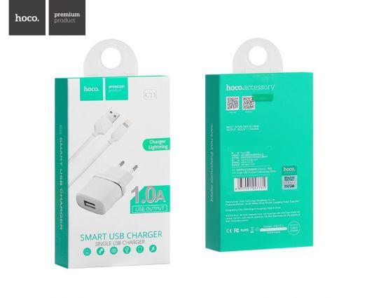 Сетевое зарядное устройство Hoco C11 Smart  1xUSB + кабель USB-lightning, белый