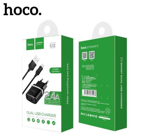 Сетевое зарядное устройство Hoco C12  2xUSB + кабель USB-lightning, черный