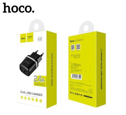 Сетевое зарядное устройство Hoco C12 Smart 2xUSB, черный