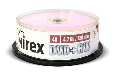 DVD+RW Mirex 4,7 Гб 4X Cake box 25