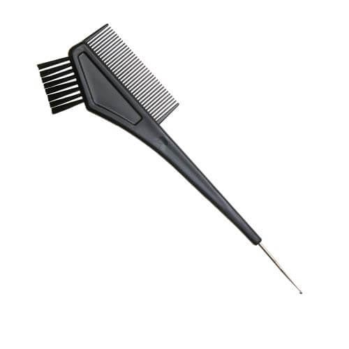 DEWAL Кисть для окрашивания черная, с расческой, с черной прямой щетиной, с крючком, узкая 30 мм, T-1156