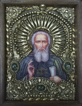 """Икона """"Преподобный Сергий Радонежский"""" 14 х 19 см в киоте, роспись по дереву, самоцветы"""