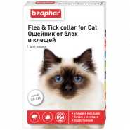 Beaphar Ошейник от блох и клещей для кошек белый