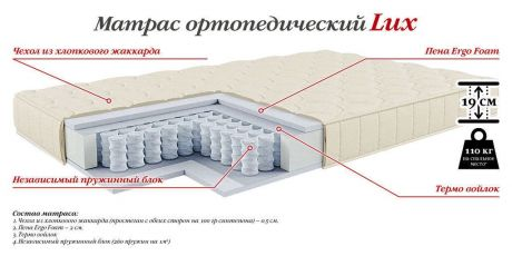 Ортопедический матрас 4s-M/lux/190/80