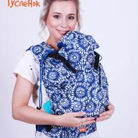 Эрго рюкзак МАЛЫШ - Дизайнерский Ромашки на синем - синий сатин