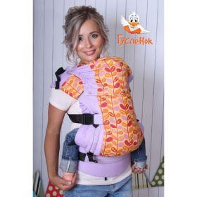 Эрго рюкзак Гусленок - Дизайнерский Вьюнок на желтом фоне - сиреневый лён