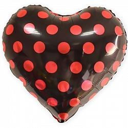 """Сердце, красные точки, чёрный, 18""""/ 46 см"""