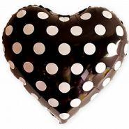 """Сердце, белые точки, чёрный, 18""""/ 46 см"""