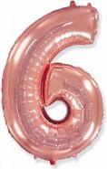 "Фигура ""6""  (40""/102 см) розовое золото"