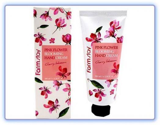 Крем для рук с цветом вишни Pink Flower Blooming Hand Cream Cherry Blossom Farmstay