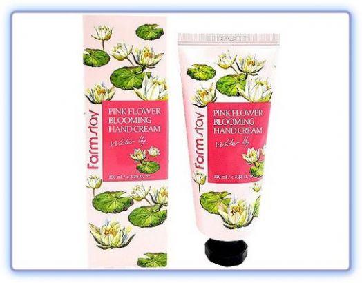 Крем для рук с экстрактом водяной лилии Pink Flower Blooming Hand Cream Water Lily