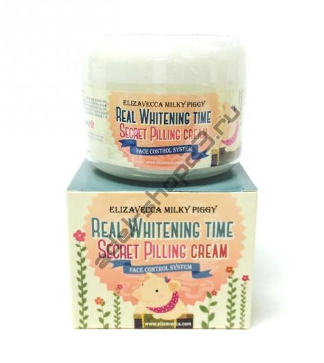 ELIZAVECCA Milky Piggy Real Whitening Time Secret Pilling Cream - Осветляющий крем с эффектом пилинга