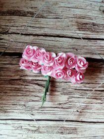 роза бумажная диаметр 1,5 см РОЗОВАЯ цена за 5 шт