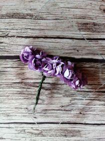 роза бумажная диаметр 1,5 см ТЁМНО-СИРЕНЕВАЯ   цена за 5 шт