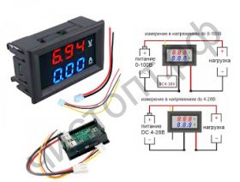 Вольтамперметр OT-INM01 DC 0-100B 0-10A