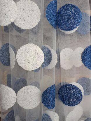 Тюль вышивка микро сетка Круги синий