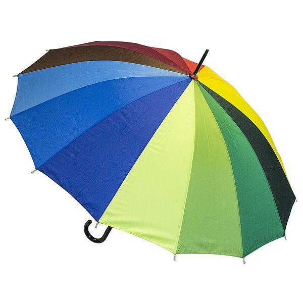 Зонт Радуга трость кожаной ручкой