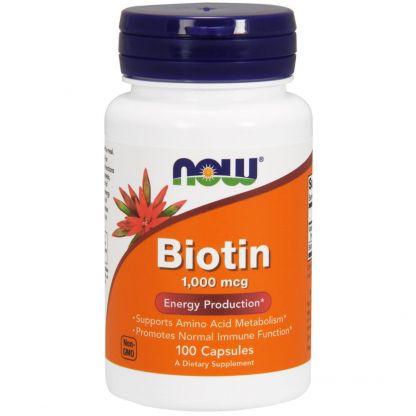Now Foods, Биотин (Biotin), 1000 мкг., 100 капсул