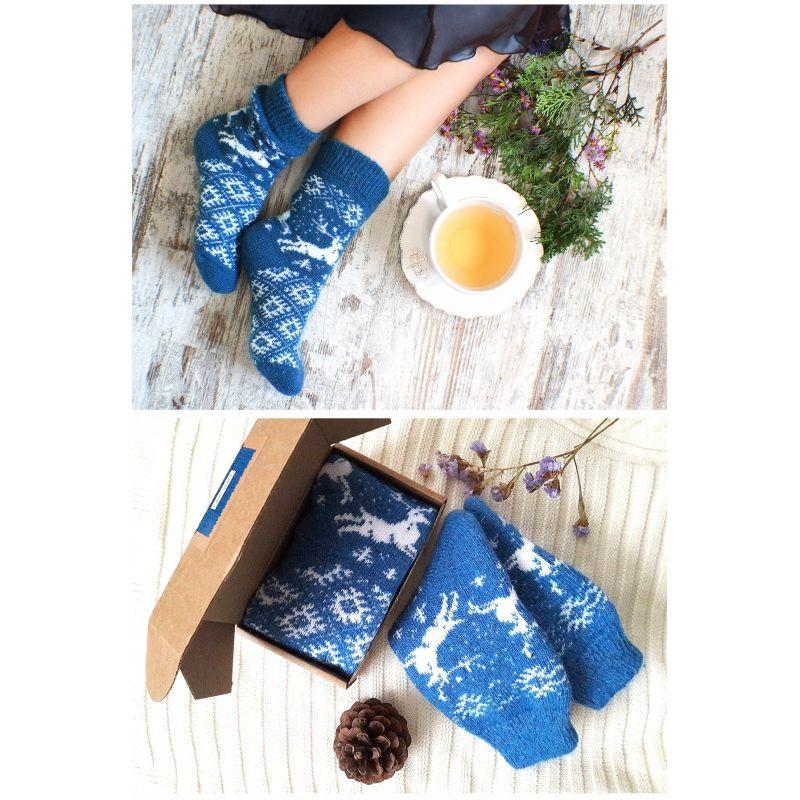 Носки шерстяные Синие с оленями