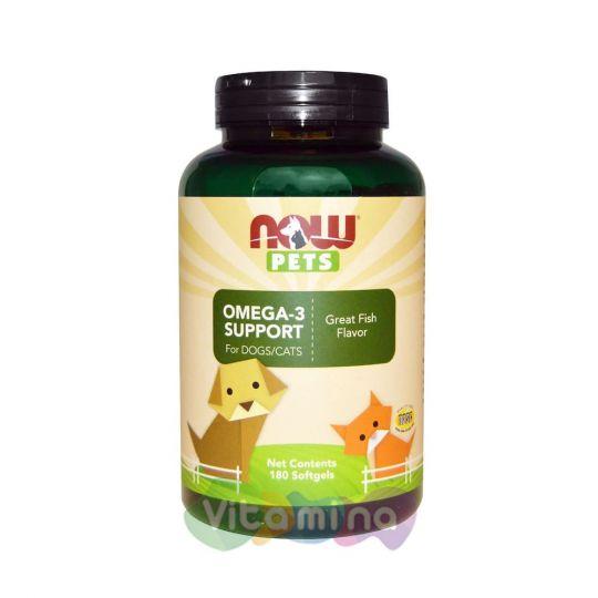 Now Foods Pets Омега 3 для собак и кошек, 180 капсул.