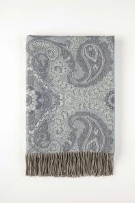 Роскошный шотландский  плед из 100 % драгоценного кашемира,Цветочный Пейсли Небесный  (Пейсли Флорал Скай Paisley Floral Sky), плотность 5