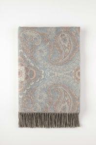 Роскошный шотландский  плед из 100 % драгоценного кашемира,Цветочный Пейсли Морская Раковина  (Пейсли Флорал Сишелл Paisley Floral Seashell), плотность 5