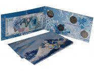 """НАБОР 25 рублёвые монеты """"Сочи 2014"""" 4 шт + 100 рублевую купюру."""