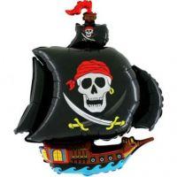 Шар фигура пиратский корабль черный