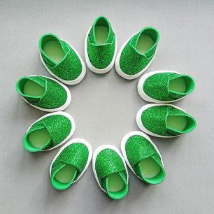 Слипоны 5см (зеленый блестки) Фоамиран. Обувь для кукол 300-01-00