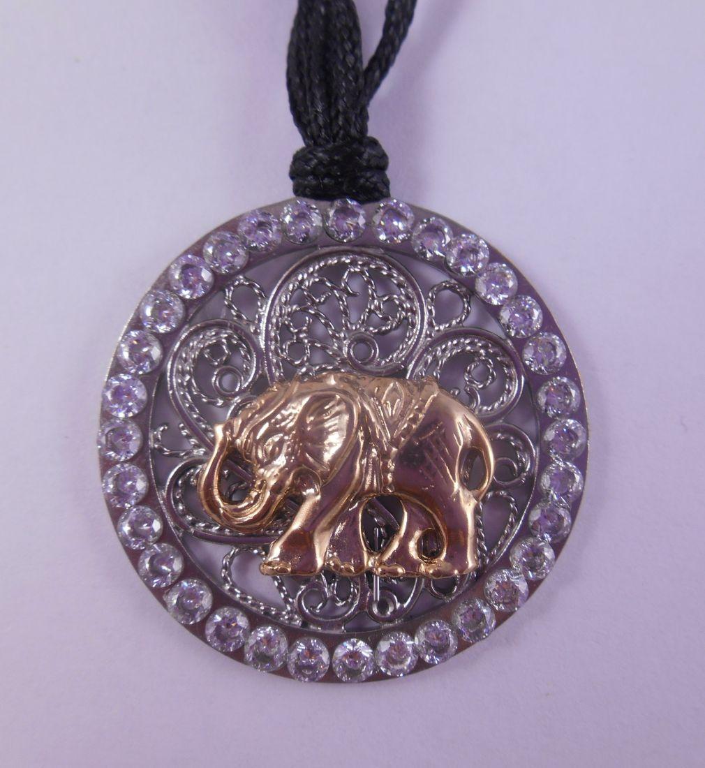 Кулон Слон с филигранью из латунь и покрытие под серебро