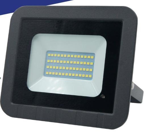 General прожектор св/д с микроволн. датчик+фотосенсор 50W(4150lm) SMD 6K 160x135x22 IP65 GTAB 403700