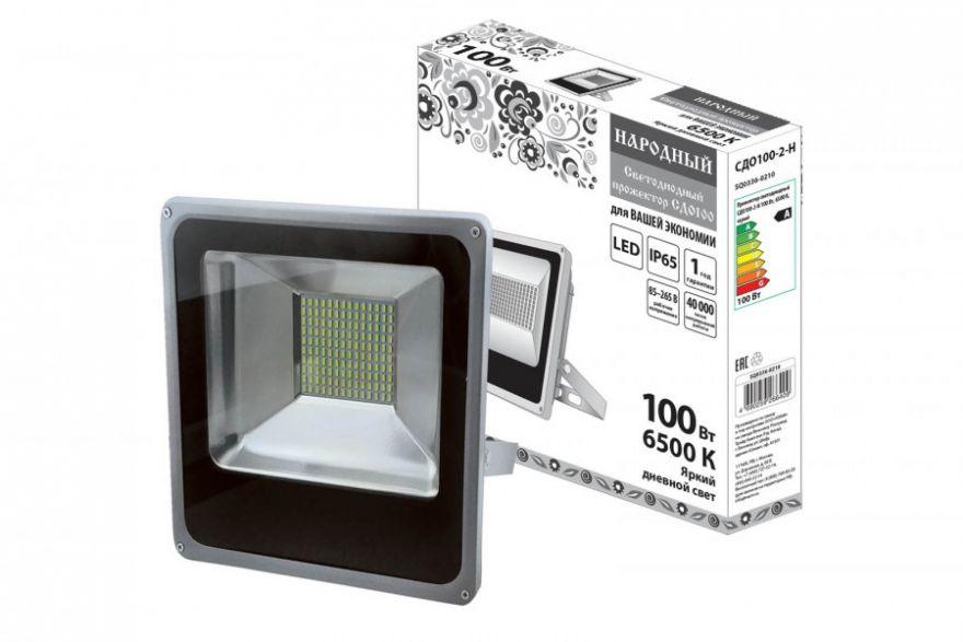 TDM прожектор св/д СДО100-2-Н 100W(7000lm) 6500K 230V Народный IP65 серый 295х315х70мм SQ0336-0210