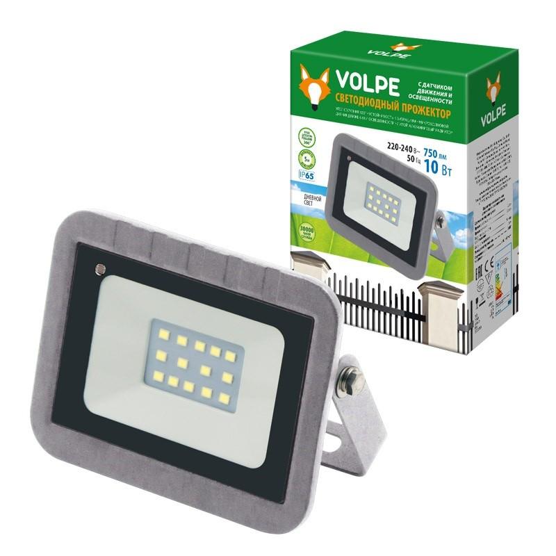 ULF-Q592 10W/DW SENSOR IP65 220-240B SILVER Прожектор светодиодный с датчиком движения и освещенност