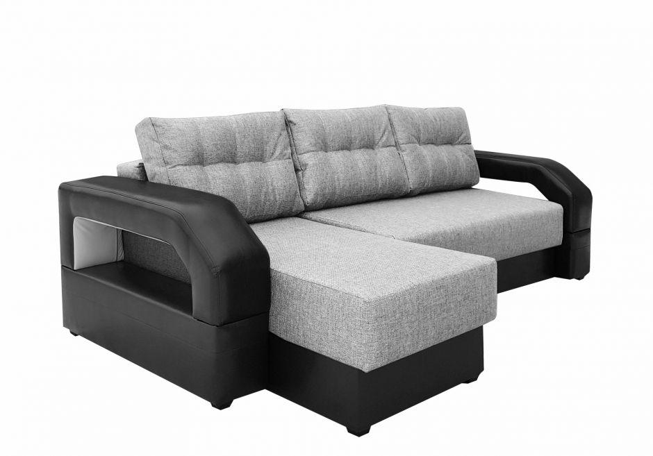 Угловой диван Манчестер с подсветкой серый