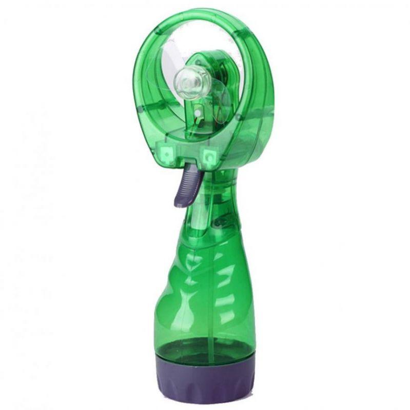 Портативный ручной вентилятор с пульверизатором WATER SPRAY FAN, цвет зеленый