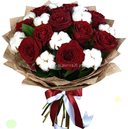 Букет розы и натуральный хлопок