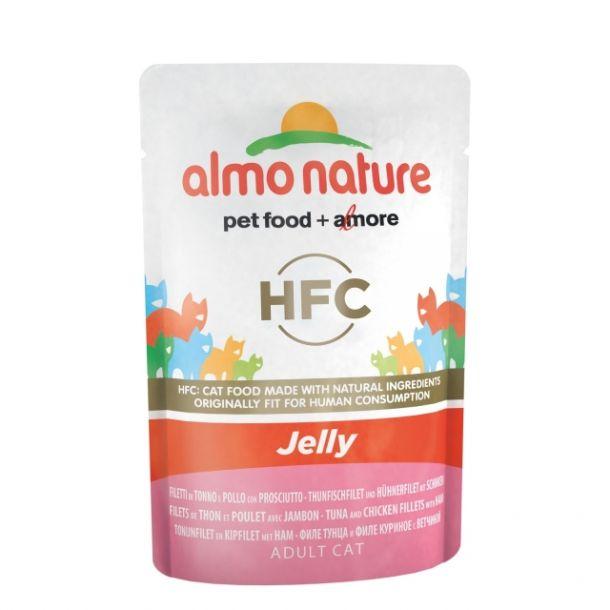 Консервы Almo Nature Classic Nature Jelly - Tuna, Chicken and Ham паучи тунец, курица и ветчина в желе для кошек 55 гр