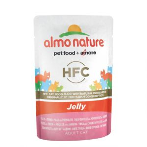 Консервы Almo Nature Classic Nature Jelly - Tuna, Chicken and Ham паучи тунец, курица и ветчина в желе для кошек 55 гр