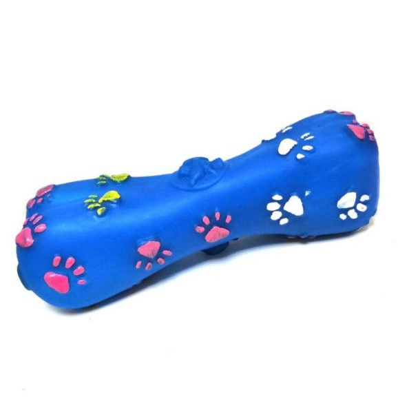 Игрушка-пищалка для собак Косточка с лапками, 15 см, цвет синий