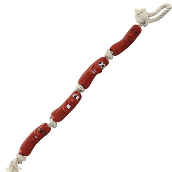 Игрушка Для Собак Четыре Сардельки На Верёвке С Ручкой, 90 См