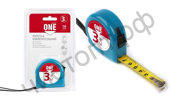 Рулетка измерит., 3мх16мм, пласт. корпус, фиксатор, усилен. зацеп, Smartbuy One Tools