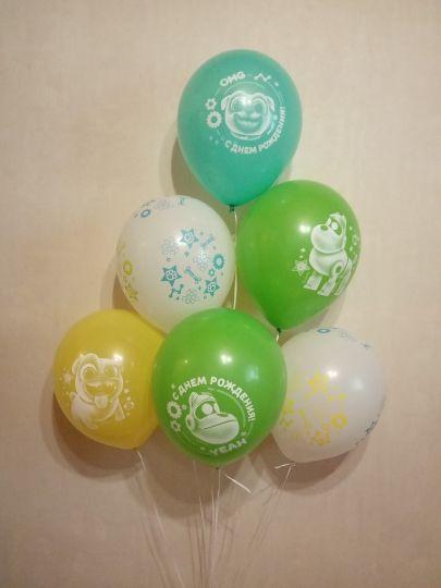 Дружные мопсы латексный шар с гелием