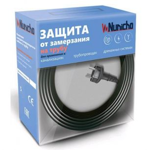 Готовый комплект кабеля NUNICHO снаружи трубы 16 Вт/м - 15 метров+ (холодный ввод  с вилкой- 2 метра).