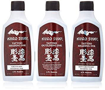 Kuro Sumi 3 Bottle Traditional Outline and Shading Set 6oz