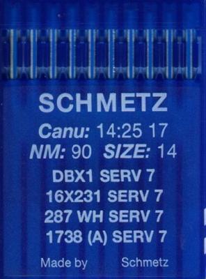 Иглы промышленные универсальные Schmetz DBx1 SERV7 №90 10 шт
