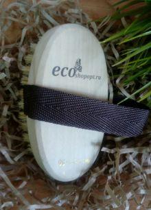 """Щетка банная из натуральной щетины с ремешком с надписью """"Экошопопт"""" 120х70 мм."""